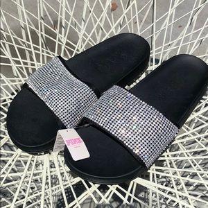 NWT - Victoria Secret Rhinestone Slide Sandals - M